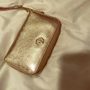 Tory Burch gold leather wristlet wallet